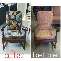 _sarakollasch Super fun rocker redo!!! This fabric is so beautiful! Xoxo #reupholstery