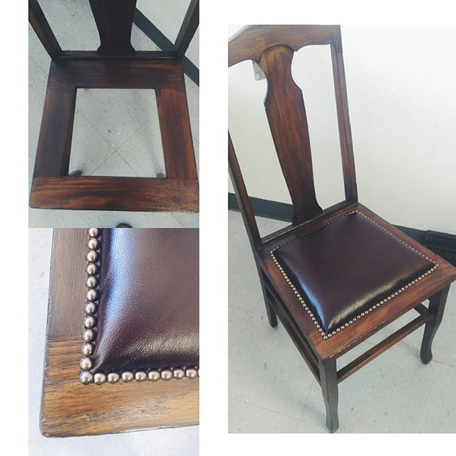 Simple seat fix in leather and nails! #chairlift #upholstery