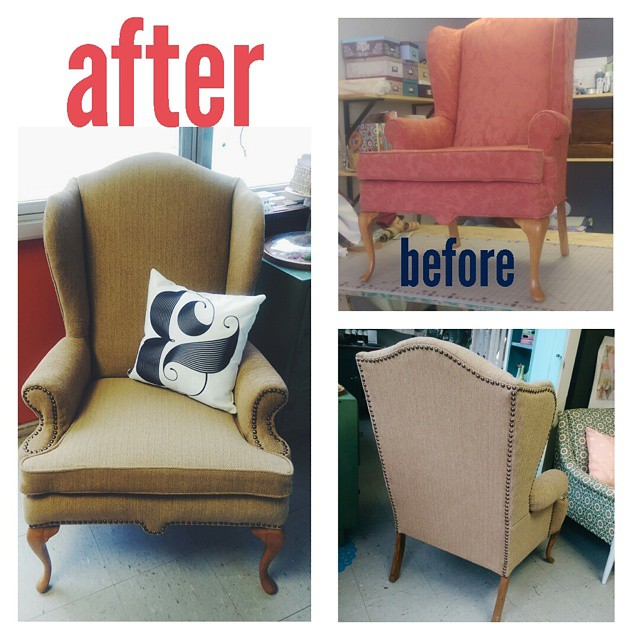 Before and after Camilla's classic wingback chair! Brown herringbone with nail heads!! So pretty and
