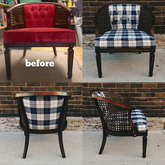 Becky's amazing blue plaid chair!! I love this fabric SO MUCH!! An easy redo with amazing results! X