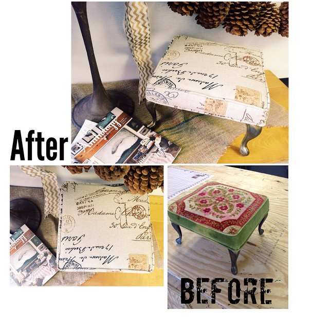 Before and after tiny tuffet project of the day! So cute!!