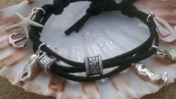 Black & silver ocean charm bracelet