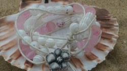 Leather & rose white wrap bracelet