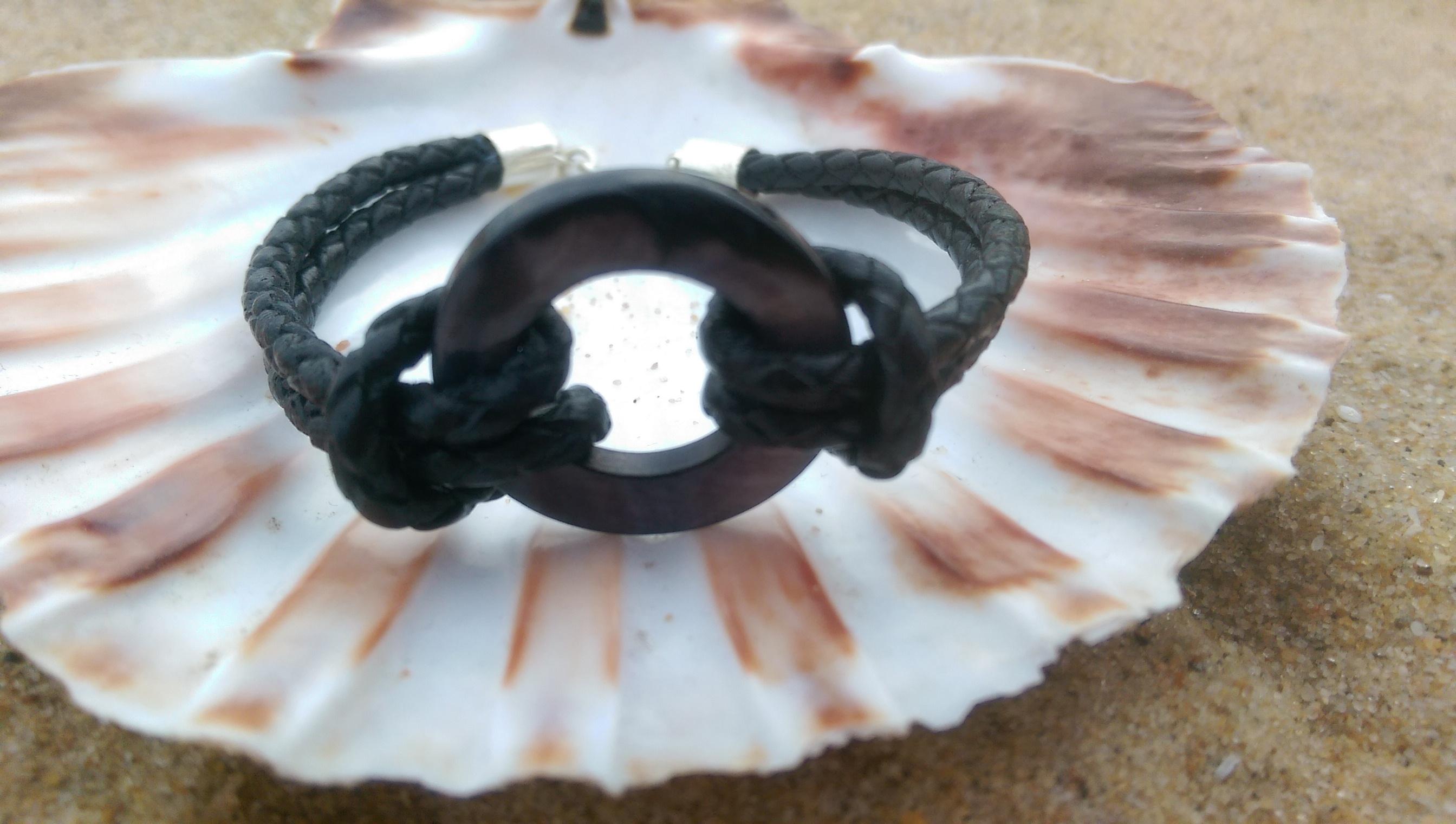 Black braided leather bracelet
