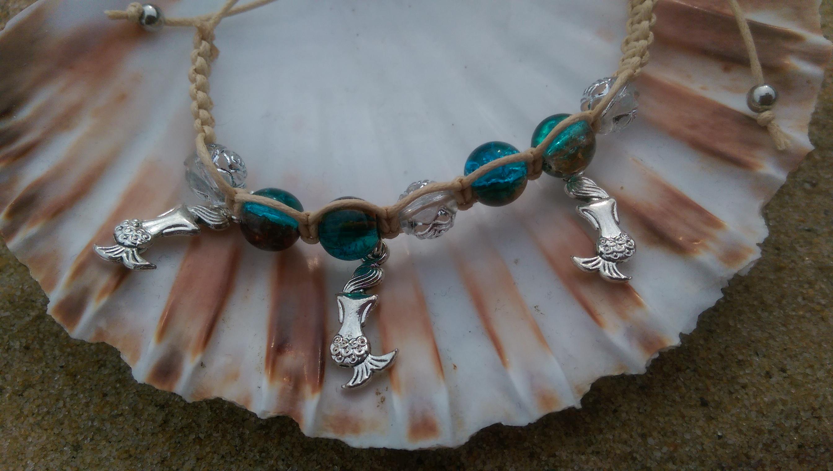 Shamballa-style with mermaid charms