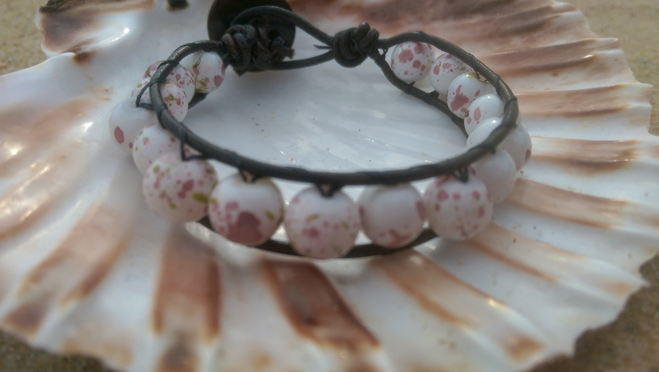 Leather & rose wrap bracelet