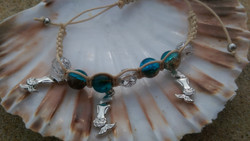 Shamballa-style with mermaid charms