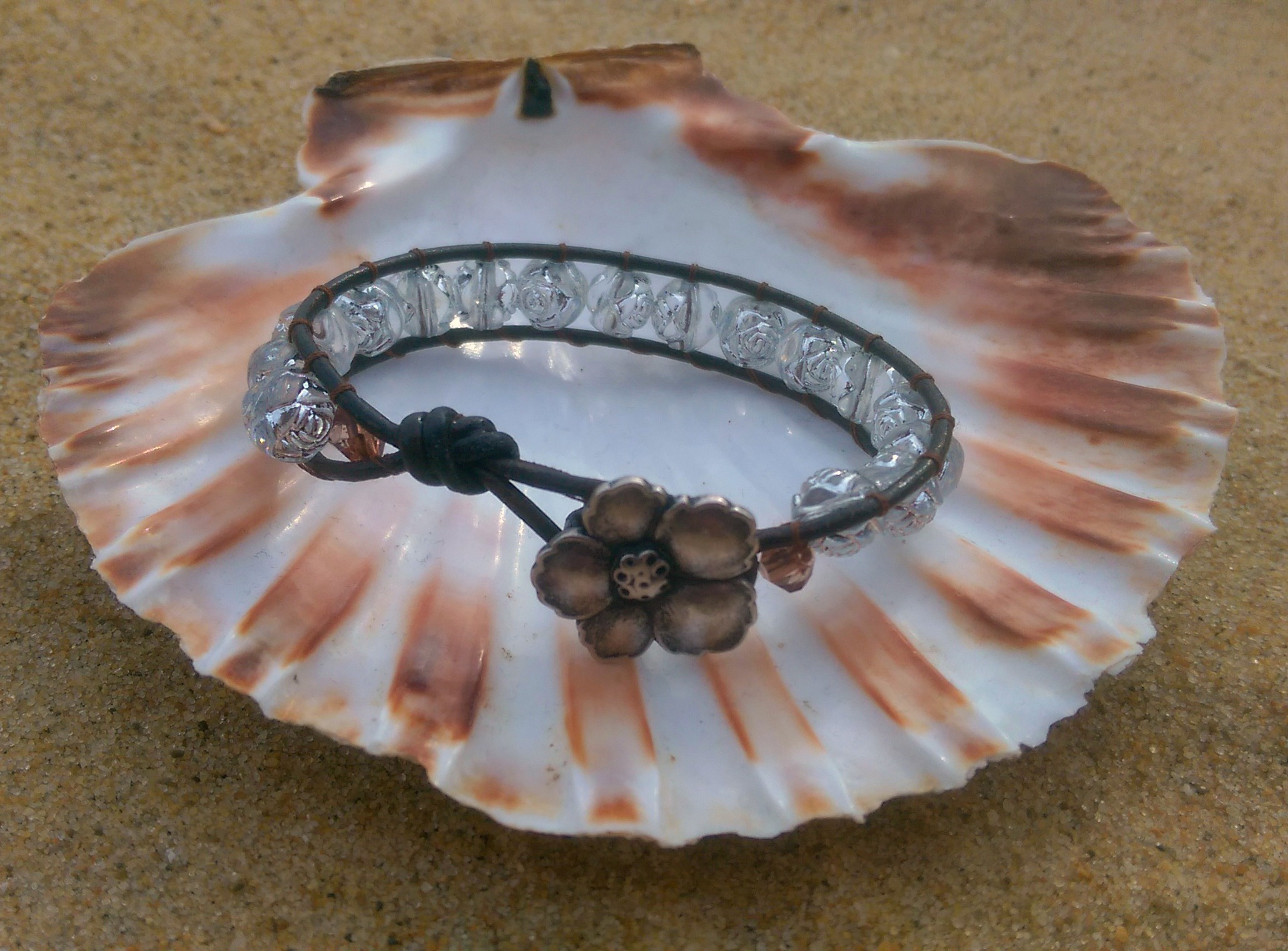 Leather & silver rose wrap bracelet