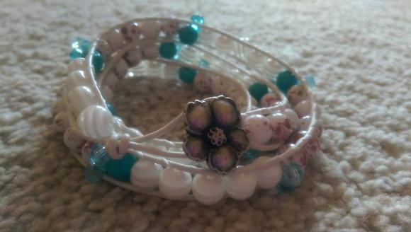 Coconut & Emerald double wrap bracelet
