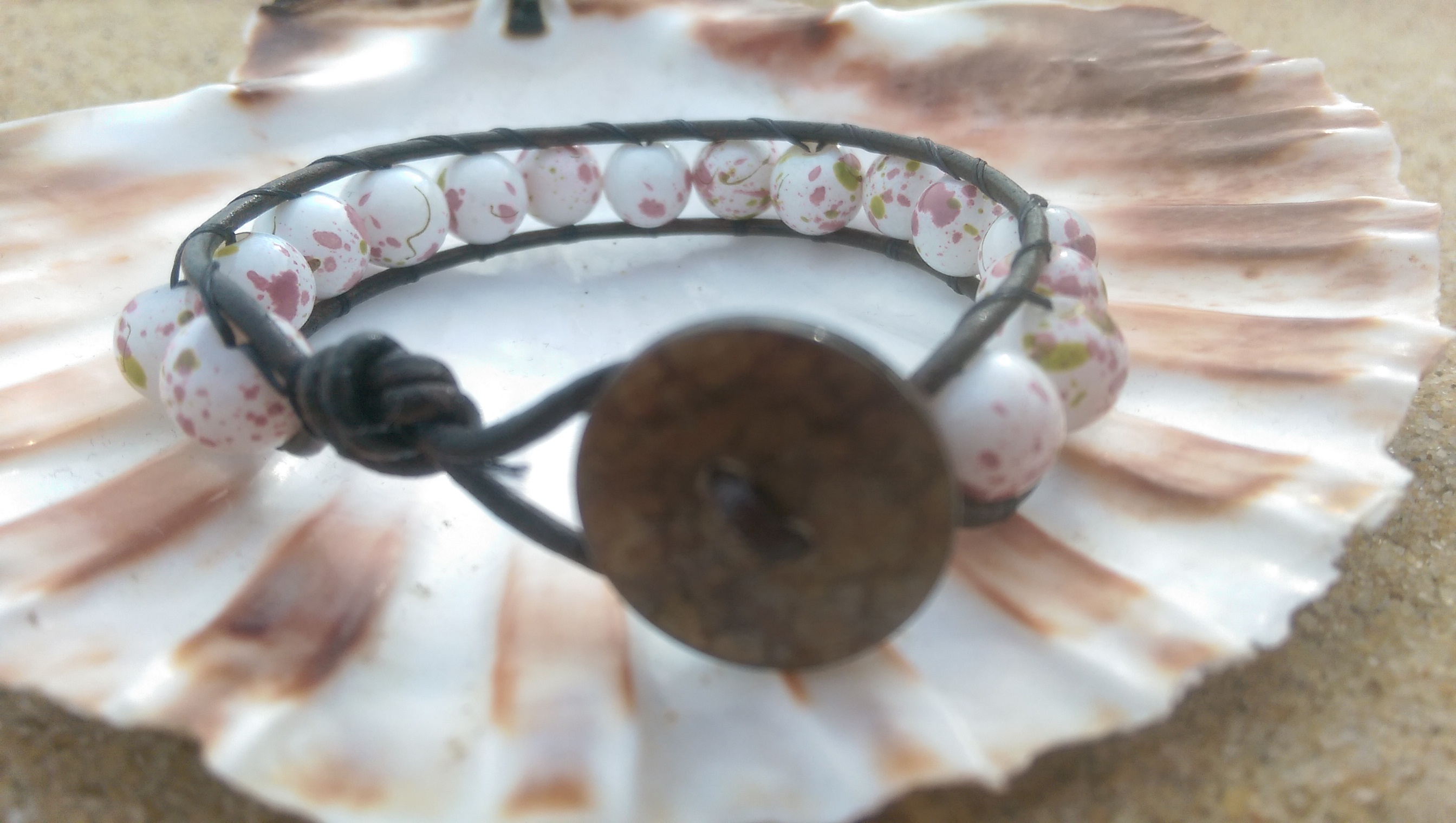 Leather and rose wrap bracelet