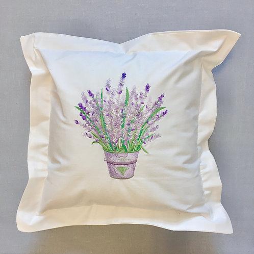 Poduszka dekoracyjna haftowana motywem lawendy