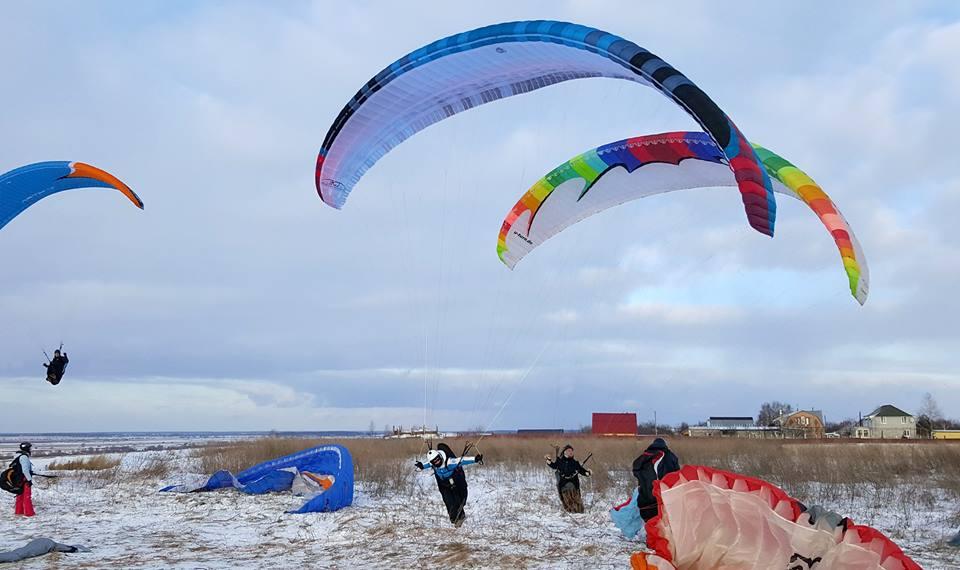полёты на параплане зимой