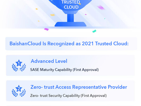 BaishanCloud Won Recognition Awards at The 2021 Trusted Cloud Summit