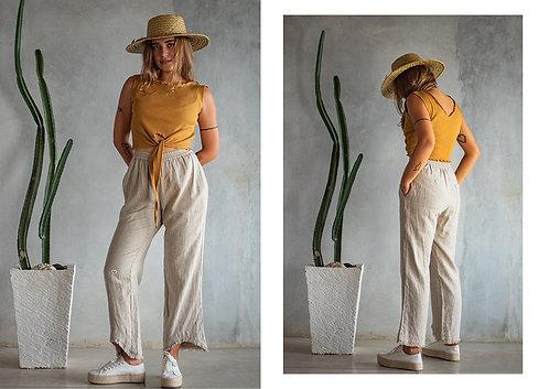 Designer's long linen pants