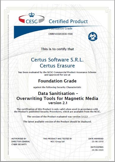 Certus NCSC Certification