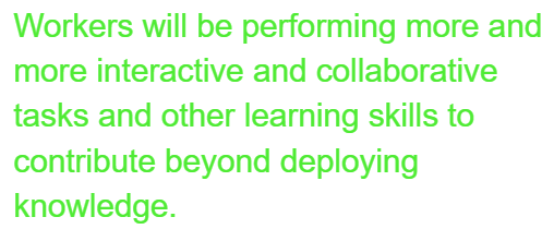 Workers will be performing more and more interactive and collaborative tasks and other learning skills to contribute beyond deploying knowledge.