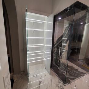 Master Bath Motion Sensored LED Lit Shelves by Global Glow Lighting Design