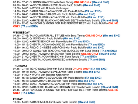 Live OnLine Courses Timetable