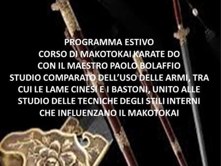 Programma estivo del corso Seniores di Makotokai Karate Do