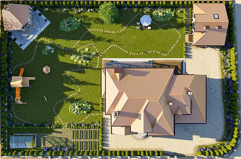 Aerial view of home property new landscaping design