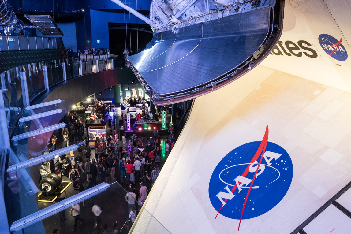 remy bond art exhibition with shuttle atlantis at kennedy space center florida