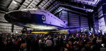 remy bond art exhibition with endeavour shuttle at california science center museum los angeles