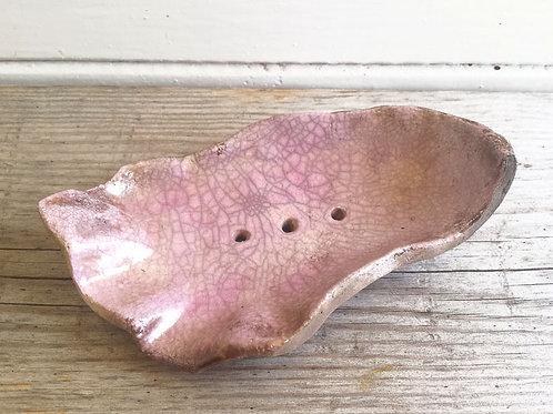 Keramik Seifenschale - getöpfert / RAKU Keramik (violett-rose)
