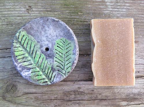 Keramik Seifenschale - RAKU - rund