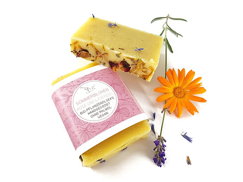 SOMMERBLÜHEN Seife mit Lavendel, Rose & Ringelblume