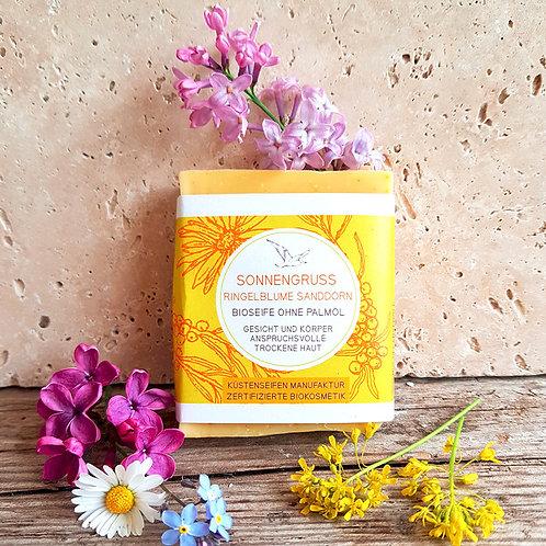 SONNENGRUSS Seife mit Sanddorn und Ringelblume
