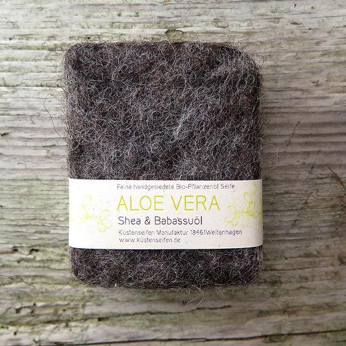Filzseife / umfilzte Seife mit Aloe Vera, Sheabutter & Babassuöl