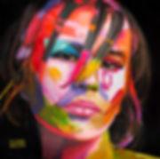 Портрет маслом на заказ по фотографии, купить картину для интерьера, заказать портрет маслом, художник Елена Бегма, лицо в красках, яркий портрет, девушка на картине в красках, современный портрет