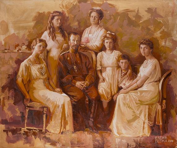 Царская семья портрет, Романовы на картине, художник рисует портреты царской семьи, картины на тему истории россии, художник Елена Бегма