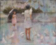 Художник Елена Бегма, Китай в картинах, картины о Китае, китайская девочка и голуби, художник Елена Бегма