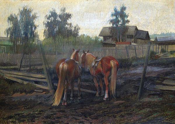 Купить картину маслом в Москве, картины заслуженных художников купить в Москве, тема казачества в живописи