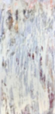 Абстракцтная картина. Художник Елена Бегма. Картина в стиле минимализм, абстракционизм. Картины современных художников. Известные художники современности. Купить картину в современный интерьер, modern art. Светлаая картина, белая краска и серебро на картине. Картина вертикальная, узкая, длинная.