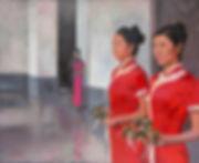 Картины о Китае, художник Елена Бегма, девушки с цветами, китаянки с цветами, девушки в красных платьях, картины с девушками в красном