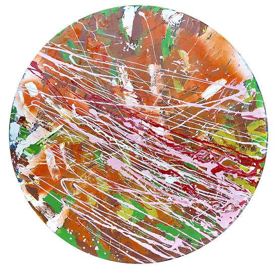 Елена Бегма современные художники. Абстрактная живопись, минимализм, абстракционизм, купить картину в современный интерьер, картины современных художников, белый и красный цвет на картине. Круглая картина, картина в круге. Яркие мазки, стильная картина купить.