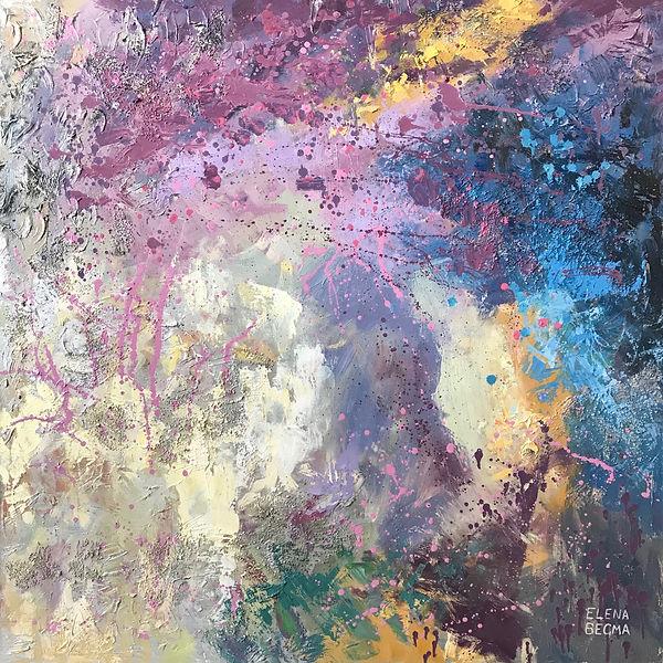 Абстрактная картина. Купить абстракцию. Фиолетовая, сиреневая картина для дома. Что повесить в современной квартире.