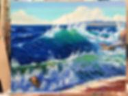 Волна, пенная волна на море, солнечный морской пейзаж, картина маслом, как рисовать прозрачную волну. Как рисовать волны на море, мастер-класс.