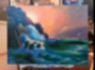 Прозрачная волна, скалы, море, восход на море маслом. Морской пейзаж, как рисовать.