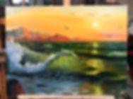 Прозрачная волна в студии. Обучение живописи, мастер-класс, как рисовать море. Техника рисования маслом море. Как нарисовать пену на воде.