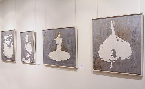Картины с балеринами художника Елены Бегма. Интерьерные картины больших размеров, балет в живописи, картины с балеринами, картины на сером фоне