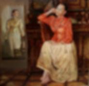 Казачка в историческом интерьере, Купить картину маслом в москве, Елена Бегма автопортрет в казачьем костюме. Историческая картина, историческая живопись, коллекционирование.