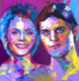 Семейный яркий портрет, современный портрет, поп-арт портрет мастихином