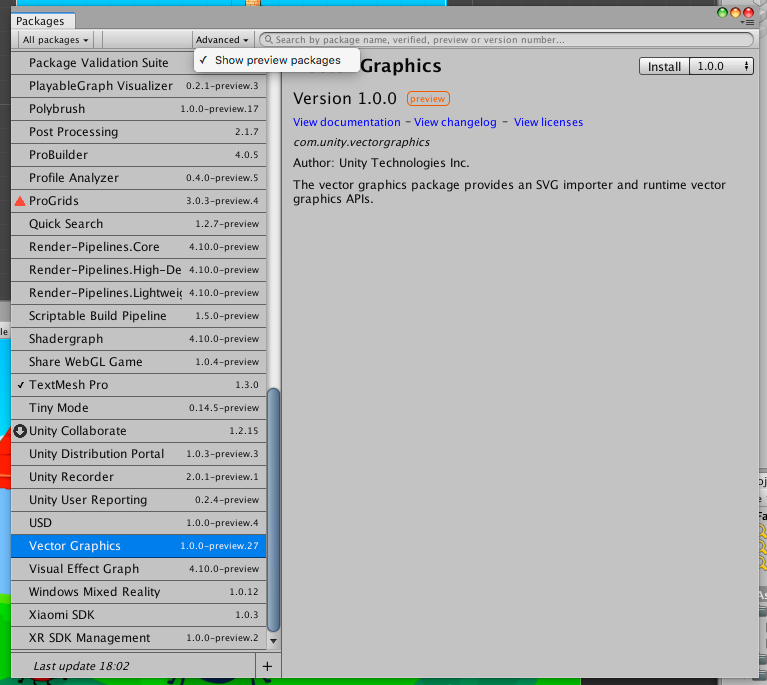 Package Manager showing Vector Graphics package