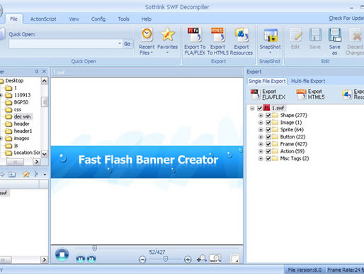 Quick Flash to Html5.0 Conversion using Sothink Swf Decompiler