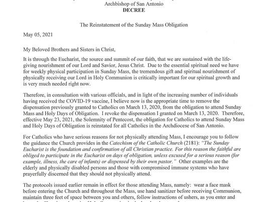 Archbishop Gustavo reinstates the Obligation to Attend Sunday Mass