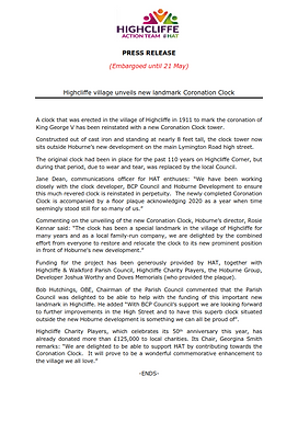 Highcliffe Coronation Clock Press Release