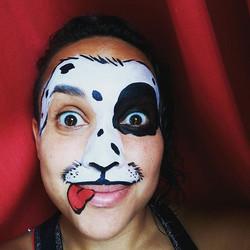 Going to work! #nanycaritas  #facepaintingnyc #dogfacepainting